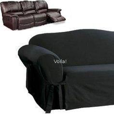 Reclining Sofa Slipcover Black Suede Adapted For Dual Recliner Couch