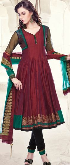 Dark #Maroon Chanderi Art Silk Readymade #Churidar #Kameez @ $161.93