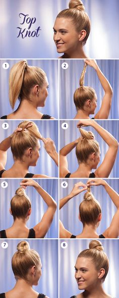 Gather your hair into a high ponytail and secure it with a hair tie. Twist the ponytail upward. To create the knot, wrap the ponytail around two fingers and pull the hair through the loop. If you have long hair, you can pin any remaining end of the ponytail to the base of the knot bun securely with bobby pins.