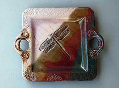 Love glaze combination.             Handbuilt Stoneware Dragonfly Platter by PotterybyHelene on Etsy, $59.00