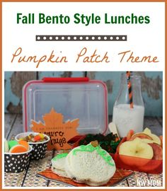 This cute fall bento style lunch with a pumpkin patch theme is perfect for back to school lunches.