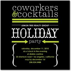 Corporate Holiday Party Invitations Corporate Cocktails - Front : Black