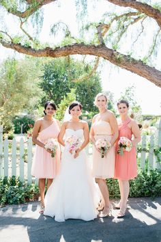shades of #peach #bridesmaids | Photography: Marianne Wilson Photography - mariannewilson.net, Florals by http://kristineshindesigns.com  Read More: http://stylemepretty.com/2013/10/14/camarillo-wedding-from-marianne-wilson-photography/