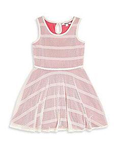 DKNY Toddler's & Little Girl's Mesh Overlay Dress