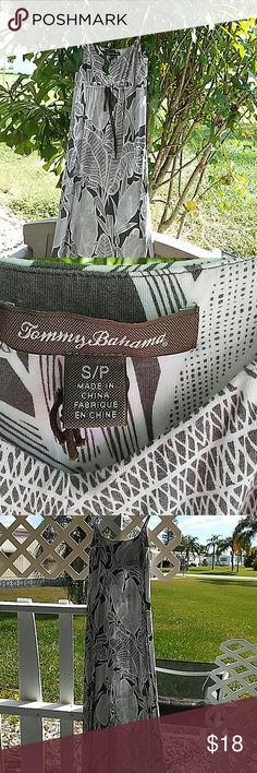 Tommy Bahama Sundress Gray  And white. Fliral print. Size S P. Stretch to fabric Tommy Bahama Dresses Maxi