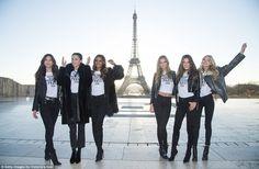 Lily Aldridge, Adriana Lima, Jasmine Tookes,  Josephone Skriver, Alessandra Ambrosio and Elsa Hosk in Paris at the Eiffel Tower promoting the upcoming 2016 Victoria's Secret Fashion Show