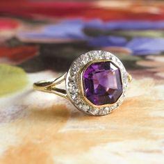 Art Deco Vintage 1930's Amethyst Old Mine Cut Diamond Filigree Ring Platinum 18k Yellow Gold