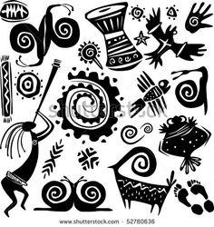 Illustration about Elements for designing primitive art. Illustration of african, mixer, motif - 14234388 Native Art, Native American Art, Motifs Primitifs, Primitive Kunst, Art Indien, Kunst Der Aborigines, Ornaments Image, Dancing Figures, Afrique Art