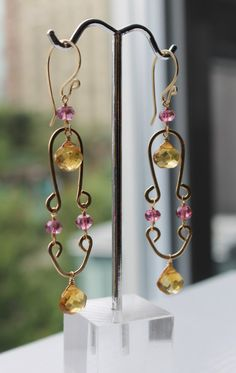 Joyful Pink and Gold Dangle Earrings with Heat by LeahYardDesigns, $170.00