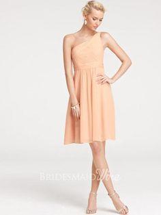 casual one shoulder satin a line knee length bridesmaid dress