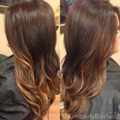 Dark chocolate brown base with carmel balayage highlights. #hairbykimberlyboshold
