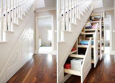Stauraum unter Stiegen optimal nutzen!