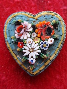 ITALIAN MICRO MOSAIC HEART FLOWER DRESS SHOE CLIP