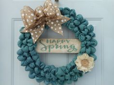 Spring wreath Spring burlap wreath Happy by ChloesCraftCloset