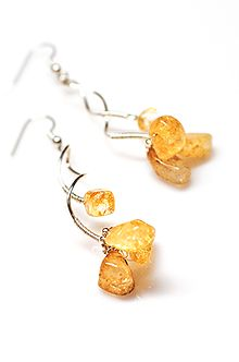 Yellow Raw Crystal Earrings Quartz Gemstone, Raw Crystal Jewelry, Quartz Nuggets Earrings, Party Earrings Celosia Orange Gemstone Jewelry