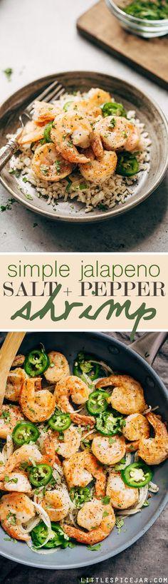 Salt and Pepper Shrimp Jalapeno Salt and Pepper Shrimp - a simple 30 minute recipe for tender and sweet shrimp with a little kick! Shrimp Dishes, Fish Dishes, Shrimp Recipes, Fish Recipes, Asian Recipes, Appetizer Recipes, Dinner Recipes, Healthy Recipes, Ethnic Recipes