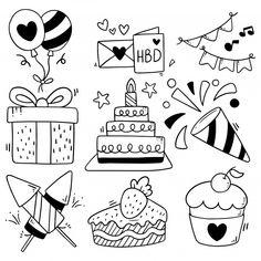 Hand drawn party doodle happy birthday P. Happy Birthday Icons, Happy Birthday Doodles, Happy Birthday Hand Lettering, Happy Birthday Drawings, Birthday Card Drawing, Birthday Cards, Birthday Tree, Happy Birthday Card Design, Flower Birthday
