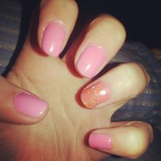 Pink, glitter ring finger, shellac
