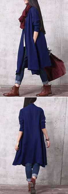 Loose Pure Color Long Sleeves Coats For Women fall&winter fashion~