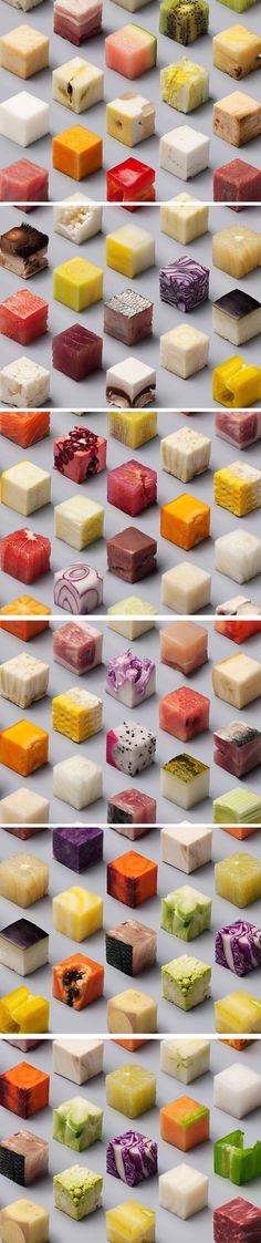 """  LERNERT & SANDER X DE VOLKSKRANT   """"Dutch newspaper De Volkskrant asked us to make a photograph for their documentary photography special, with the theme Food. We transformed unprocessed food into perfect cubes of 2,5 x 2,5 x 2,5 cm."""""""