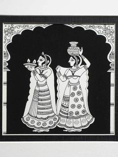 An Indian Phad painting from Rajasthan depicting two ladies dressed in saris carrying vessels under an arched outline. Madhubani Art, Madhubani Painting, Name Design Art, Phad Painting, Indian Folk Art, Ancient Indian Art, Rajasthani Art, Indian Art Paintings, Indian Artwork