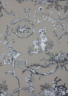 Paysannerie Toile Wallpaper A scenic toile wallpaper with farm workers, pheasants, stags and dogs amongst swirling foliage in black on taupe.
