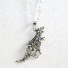 Fancy - Sterling Silver Allosaurus Dinosaur Necklace