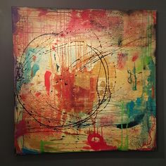 """""""HAPPINESS IS"""" 48X48 MIXED MEDIA BY Rebecca Antonelli"""