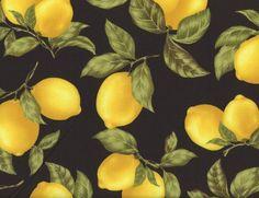 Lemons And Leaves Black