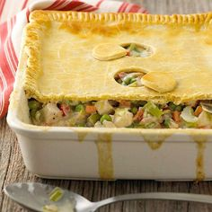Our Deep-Dish Chicken Pot Pie is comfort food at its finest. More of our all time favorite chicken recipes: http://www.bhg.com/recipes/chicken/baked/favorite-chicken-recipes/?socsrc=bhgpin090913chickenpotpie#page=13