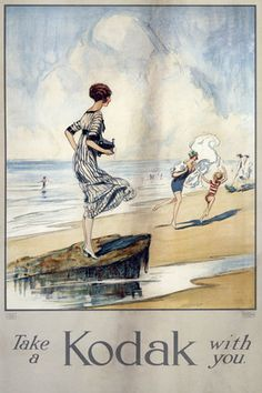 Colour poster produced for Kodak Ltd, showing the 'Kodak Girl' standing on a rock on a beach, holding a small camera.