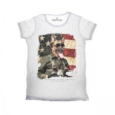 Lacrom - Manymal - Dog T-shirt Man slab cotton t-shirt with frontal print.