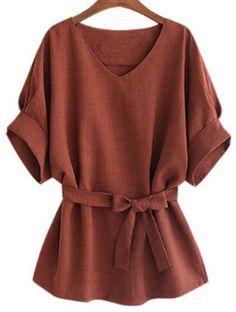 Stylish V-Neck Short Sleeve Self-Tie T-Shirt For Women