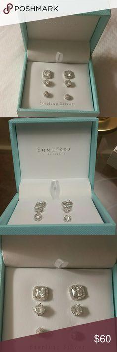 3 pair set of sterling silver earing studs sterling silver earing studs contessa di capri   Jewelry Earrings