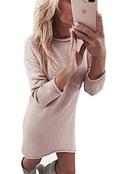 Yidarton Winter Damen Pullover Sweater Strickkleid Warm Elegant Langarm  Strickpullover Lang 330ec07769