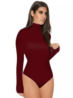 0060e3af30 2018 Fashion Long Sleeve High Neck Bodysuits Tops Women Plain Leotard Tops  Turtleneck One Piece Bodysuit Thong Jumpsuits Outfits