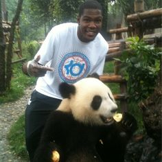 Kevin Durant and a panda