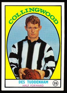 1968 A Scanlens No. 39 Des Tuddenham Collingwood Magpies Card in Sporting Goods, AFL, Australian Rules, Trading Cards | eBay