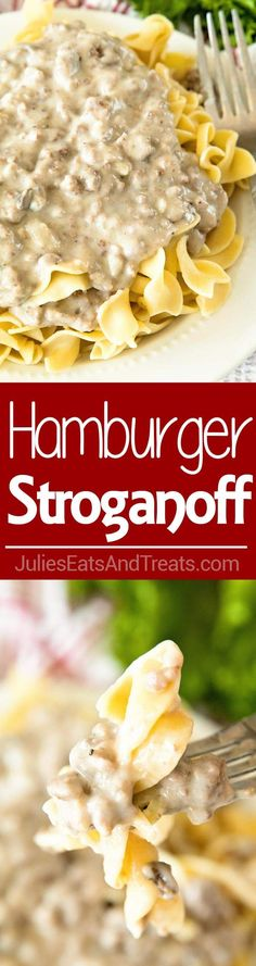 Hamburger Stroganoff ~ An easy weeknight supper of Ground Beef Stroganoff will put smiles on the whole family's faces including Mom's! via @julieseats