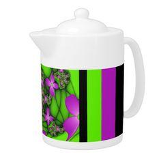 Modern Abstract Neon Pink Green Fractal Flowers Teapot