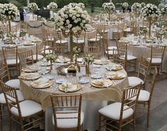 Champagne square on white linens. Just stunning.