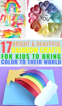 17 Bright Rainbow Crafts For Kids To Bring Color To Their World, colorful craft activities for preschoolers rainbow rainbowcrafts rainbowcraft kidscraft kidscrafts 837951074397808804 Easy Crafts For Kids, Toddler Crafts, Preschool Crafts, Fun Crafts, Arts And Crafts, Paper Crafts, Crafts For Children, Crafts For Preschoolers, Craft Activities For Kids