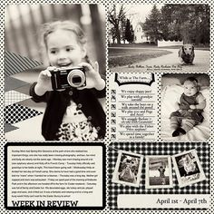 Adorable black & white digital Project Life page.  Uses Cathy Zielske's Week in Review card.
