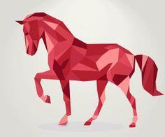 Cubism Animal- Polygon horse vector creative design