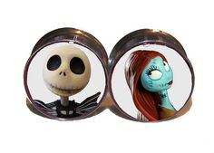 "Jack & Sally Plugs - 1 Pair (2 plugs) - Sizes 0g, 00g, 7/16"", 1/2"", 9/16"", 5/8"", 3/4"", 7/8"", 1"" - Made to Order on Etsy, $18.95"