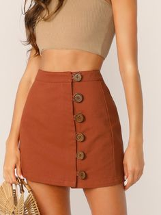 To find out about the Button Front Skirt at SHEIN, part of our latest Skirts ready to shop online today! Mode Outfits, Skirt Outfits, Casual Outfits, Cute Skirts, Short Skirts, Mini Skirts, Fall Skirts, Modest Fashion, Fashion Dresses
