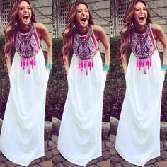Femme-Boho-Floral-Longue-Maxi-Robes-empire-Boheme-Ete-Sans-manche-Parti-Dress