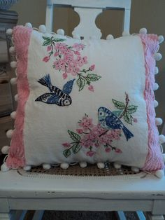 Vintage Embroidered Linen and Vintage Chenille used for pillow