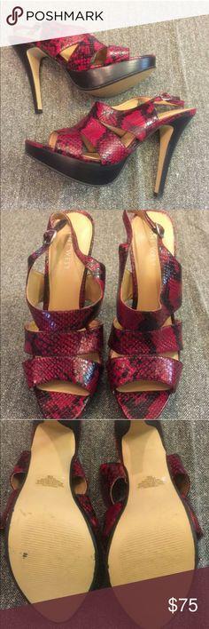 NINE WEST black and red snake skin heels NWOB!!! Snake skin heels never worn,hideout KC Nine West Shoes Heels