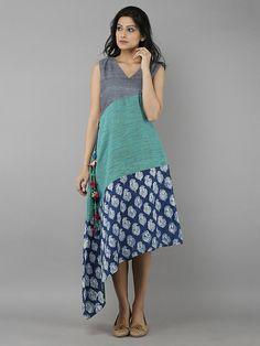 Indigo Grey Cotton Chanderi Full Length Dress Indian Dresses, Indian Outfits, Trendy Dresses, Fashion Dresses, Indian Fashion, New Dress, Dress Skirt, Designer Dresses, Women Wear